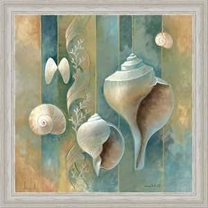 Blue seashells bath room spa decor ii art for Bathroom paintings amazon