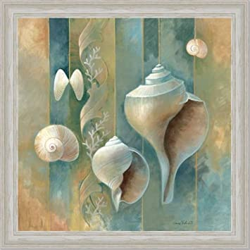 Blue Seashells Bath Room Spa Decor Ii Art Print Framed