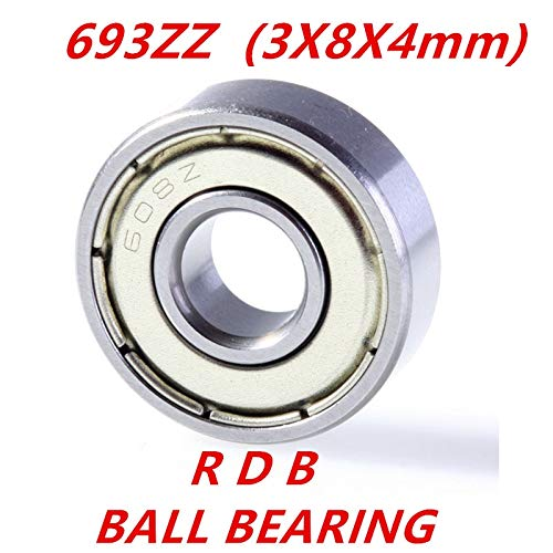 Ochoos New 10 pcs 693ZZ Bearing ABEC-7 3x8x4 mm Miniature 693 ZZ Ball Bearings 619/3ZZ EMQ Z3 V3 Mini 693Z 384 Bearing