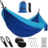 OlarHike Double Camping Hammock, Lightweight Portable Nylon 2 Person Hammocks with Tree Straps, 500lbs Capacity Hammock for Outdoor Indoor Backpacking Travel Beach Garden Yard