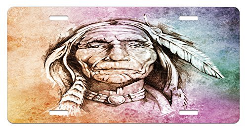zaeshe3536658 Native American License Plate, Portrait of Tribal Chief with Ethnic Feather Band Watercolor Style Image, High Gloss Aluminum Novelty Plate, 6 X 12 Inches, (American Portraits Plate)