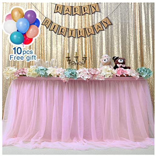 QueenDream Pink Fluffy Table Skirt Tulle Tutu Table Skirt for Rectangle Table for Girl's Birthday Party Baby Shower and Home Decor (L9(ft) H 30in) -