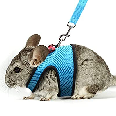 SLSON Small Guinea Pig Harness Walking Vest Soft Mesh Flexible with Leash for Small Animal Bunny,Small Size