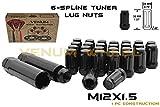 Full Set of 20 M12x1.5 Thread Black Spline Tuner Style Lug Nuts + Two Keys | Mazda Miata CX-3 CX-5 Protege MPV