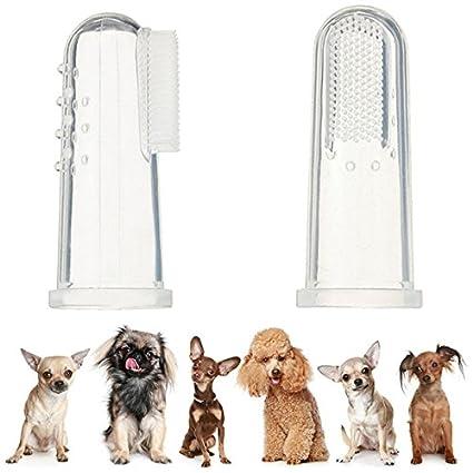 UEETEK 4pcs perro dedo cepillo de dientes silicona higiene Dental cepillos de dedo para Midium pequeños grandes perros gatos y mascotas más: Amazon.es: ...