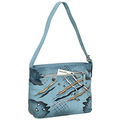 Geschenkset - exklusiver Greenland Nature Schlüsselanhänger + Art & Craft Umhängetasche Handtasche Henkeltasche Schultertasche Damentasche Shopper Leder 33cm handbemalt