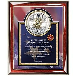 Congratulation Fire Academy Graduation Firefighter Gift Personalized Fire Fighter Poem Wall Clock Frame for Fireman Graduate Fire School Congrats