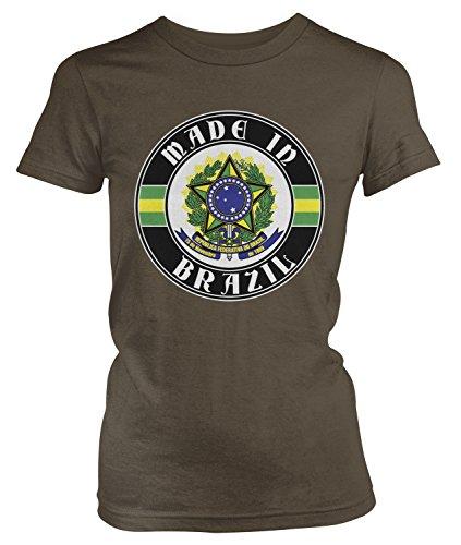 (Amdesco Junior's Made in Brazil, Brazilian Coat of Arms T-Shirt, Dark Chocolate Small)