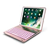 iPad Pro 10.5 Inch Keyboard Case,7 Colors Led Backlit Color,Wireless Bluetooth Folio Keyboard Hard Shell Cover -Ultra Slim,Portable,Protective&Aluminum Alloy Material(Rose Golden)
