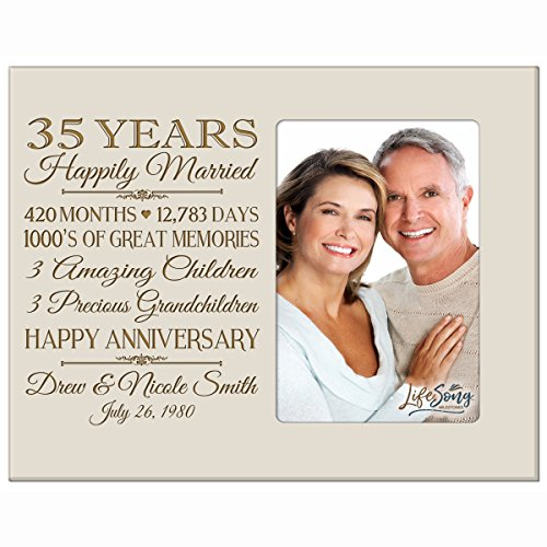 Personalized thirty fifth year anniversary gift for her him couple Custom Engraved wedding gift for husband wife girlfriend boyfriend photo frame holds 4x6 photo by LifeSong Milestones (Ivory) - Anniversary Year Photo Holder