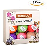 Diy Lush Bath Bombs Emosa Bath Bombs Gift Set,7- Piece Aromatherapy and Natural Essential Oil Lush Fizzy Bombs Kit with 1 Bag of Roses-Bath Bubbles,Spa Kit Bath- Best Gift Idea