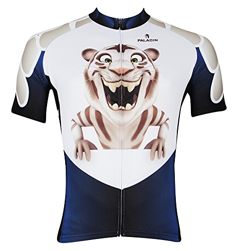 QinYing Mens Small Tiger Patterns King's Breathable Biking Cycling Jersey Top L