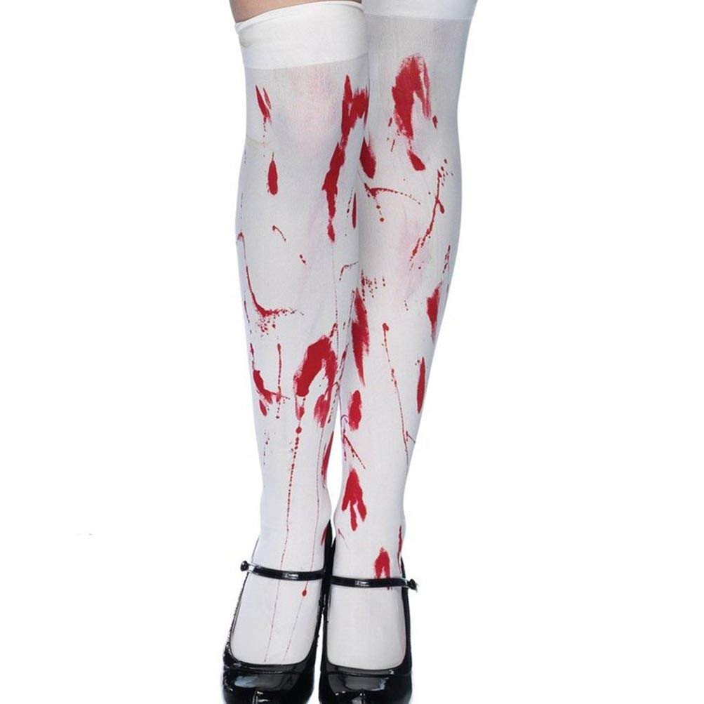 Enfei Womens Halloween Bloody Over The Knee Socks Cosplay Costume Stocking White