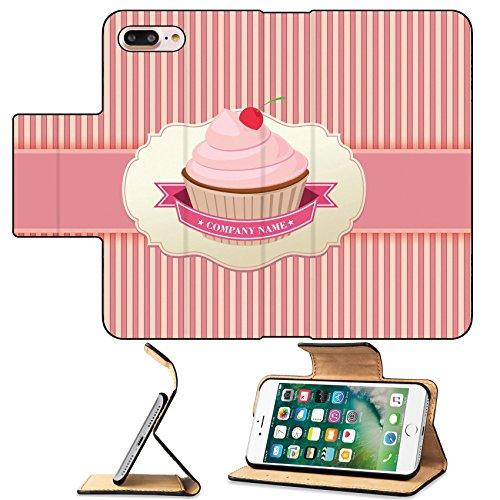 MSD Premium Apple iPhone 7 Plus Flip Pu Leather Wallet Case Cupcake background retro IMAGE 13975230