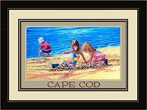 Northwest Art Mall DL-3654 LFGDM KIS Cape Cod Massachusetts Kids in Sand Framed Wall Art by Artist David Linton, 20 x - Cape Cod Mall Massachusetts