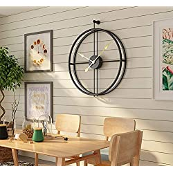 Univer-Co Modern 3D Wall Clocks Battery Operated Decorative 20x24 Round Iron Metal Clock for Living Room, Bedroom, Office (Black)