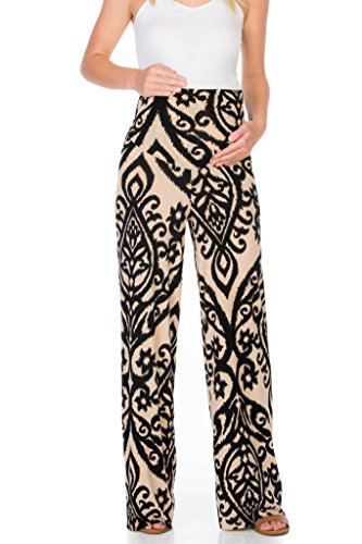 022f1298e44 My Bump Women s Maternity Casual Bohemian Damask Palazzo Pants W Tummy  Control