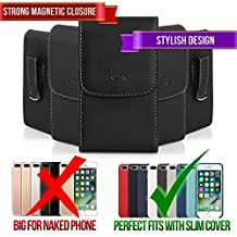 Leather Case for Sony Xperia X10 Mini, TMAN Premium Vertical Pouch Protective Carrying Holster with Belt Clip (Fits with Silicone, Snap, Bumber and Thin Protective Case)