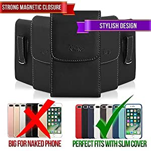 TMAN Leather Premium Quality Magnetic Closure Vertical Medium Belt Clip Case Pouch Holster for BlackBerry Curve 8350i Curve 9220 Curve 9310 Curve 9315 Curve 9320 [PERFECT FITS WITH SKIN CASE ON IT]