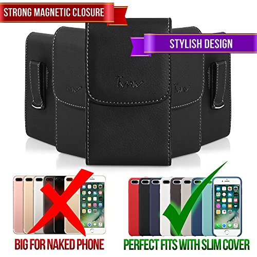 #1 TMAN Leather Premium Quality Magnetic Closure Vertical Medium Belt Clip Case Pouch Holster for Sidekick LX 2007 LX 2009 T-Mobile Sidekick LX 2009, Mobiflip [PERFECT FITS WITH SKIN CASE ON IT]