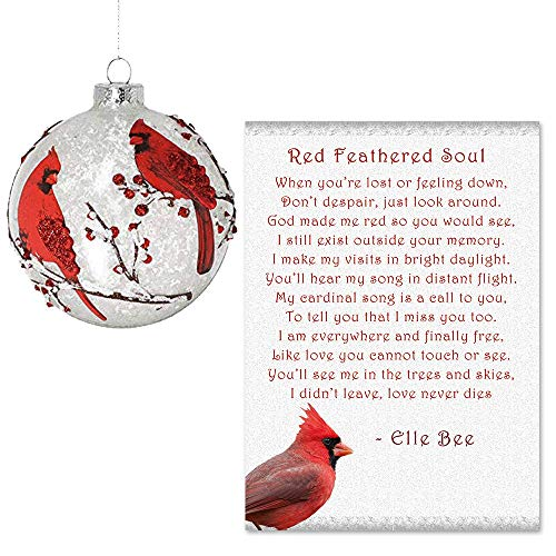 Cardinal Christmas Ornament (Lola Bella Gifts and Burton and Burton Cardinal Round Ornament with Red Feathered Soul)