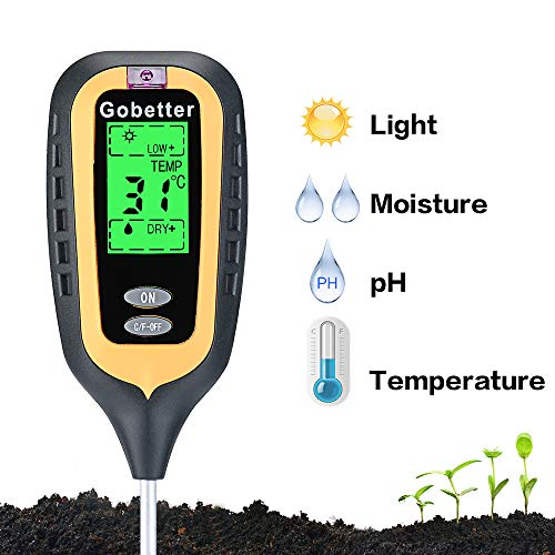 Soil Test Kit 4-In-1 Soil Tester for Moisture, Soil pH, Sunlight, Temperature, High Accurate LCD Digital Dispaly, Soil Moisture meter Gardening Tools for Yard, Indoor & Outdoor Plants(Include battery) by Gobetter