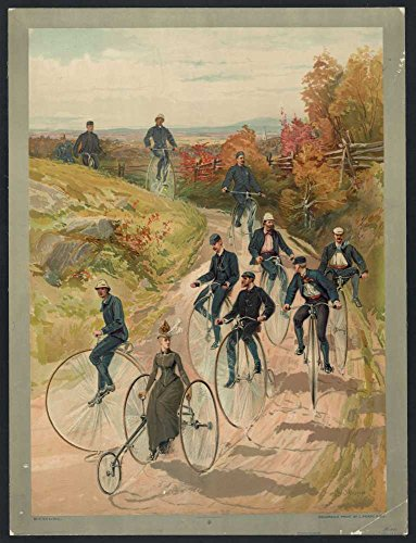 1887 Photo Bicycling / Hy Sandham ; aquarelle print by L. Prang & Co. Woman, on three wheel bicycle, followed by men on high-wheelers.