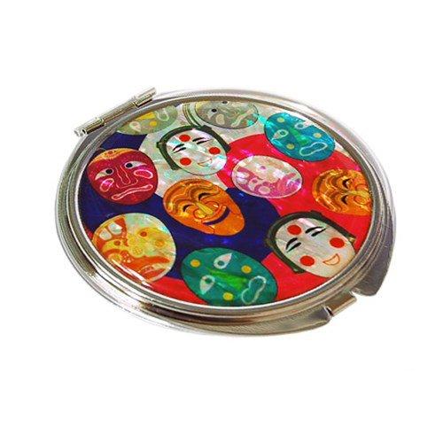 Mother of Pearl Korean Bongsan Masks Design Double Compact Purse Mirror Fun-Store Compact mirror