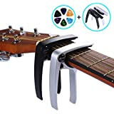 Asmuse Guitar Capo Trigger 2 Pack with 6 pcs Guitar Picks Single Hand Use Quick Change Aluminum Alloy Capos for Classical Acoustic Electric Guitars Bass Ukulele(2 Pack)