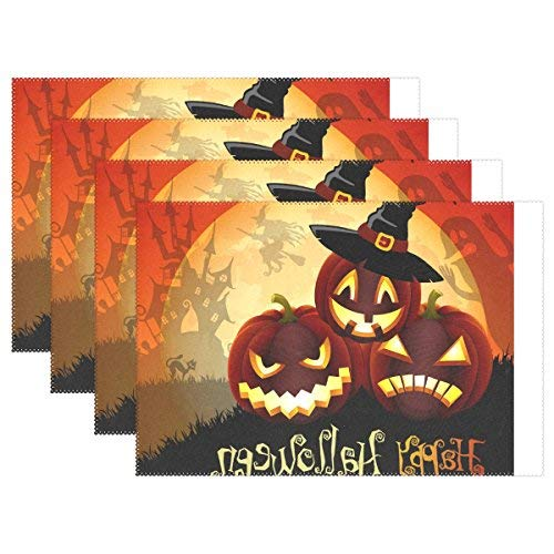 Vector Cute Halloween Illustration Print Placemat Table Mat, Heat-Ristant Polyter Table Place Mat for Kitchen Dining Room Set of -