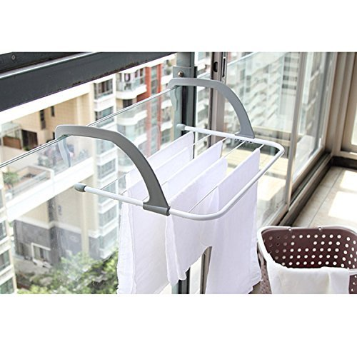 TOAO Indoor/Outdoor Easy Install Folding Clothes Drying Rack-Hanging over the door or on Bathroom ...