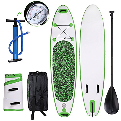 Hurbo 10ft Inflatable Stand Up Paddle Board 6 Inches Thick , iSUP Board Package with Adjustable Paddle, Leash, Pump and Backpack, Fit for Youth and Adult