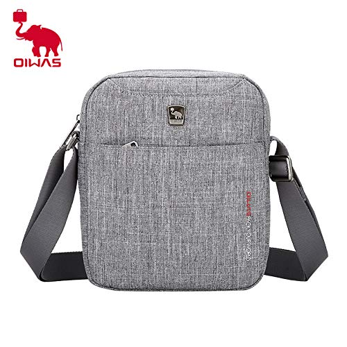 OIWAS Mens Small Messenger Bag Shoulder Crossbody Bags Lightweight Casual for Passport Purse Grey