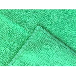 Microfiber Cleaning Cloths 12 Pack - Premium Large Soft 16x16 Washable Towels - Super Thick 350 GSM - Wash or Buff Surfaces, Screens, Car & Auto, Bath and Kitchen by MicrofiberPros (Green)