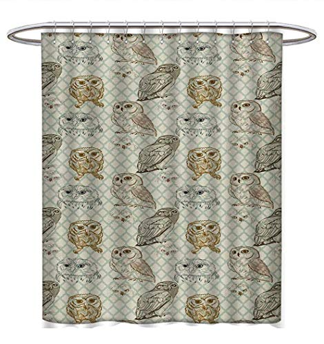 (Owl Shower Curtains Waterproof Cool Looking Owls Different Shapes and Sizes Drawing Style Sketch Pattern Print Bathroom Set with Hooks W48 x L84 Brown Reseda Green)