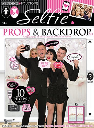 Wedding Selfie Photo Booth Props and Backdrop Set of 10 Props by Express Novelties Online ()