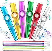 Anpro Set of 6 Colorful Metal Mouth Kazoo with 6 Membrane Flute, Music Instrument Toy for Music Lover