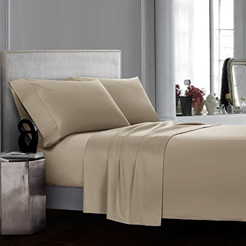 CASA BOLAJ DESIGNED TO DREAM Champagne Khaki Sheets Set 4 Pieces 100% Egyptian Cotton Luxury Sateen 400 Thread Count Soft Premium Classy Deep Pocket All Around Elastic(Khaki,Queen)
