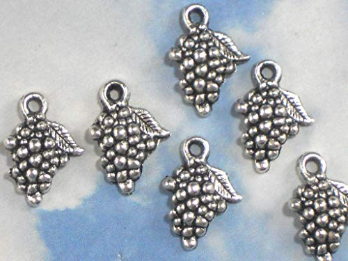 Lot 12 Bunch Wine Grapes Charms 18mm Antiqued Tibetan Silver Tone Vintage Crafting Pendant Jewelry Making Supplies - DIY Necklace Bracelet Accessories CharmingSS ()