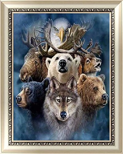 YOMIA DIY Animal 5D Diamond Painting Kit, Crystal Deer Bear Wolf Full Drill Diamond Rhinestone Embroidery Arts Craft Home Decor Painting (Picture Size:15.7x20.8inch)