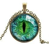Buytra(TM) Vintage Dragon Cat Eye Glass Cabochon Pendant Necklace