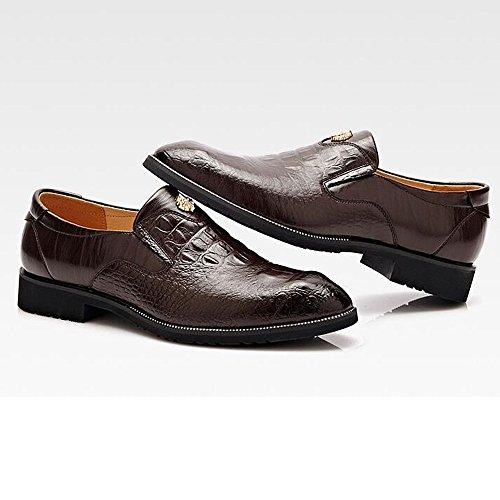Piel de Negocios Cuero Zapatos de Hombres de Mocasines de de Caballero para Zapatos Superior Imitación los Calidad Vestir de Oscuro Marron cocodrilo de de 6HP0w6
