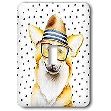 3dRose Uta Naumann Watercolor Illustration Animal - Cute Funny Dog Illustration on Polkadots- Welsh Corgi Pembroke - Light Switch Covers - single toggle switch (lsp_275102_1)