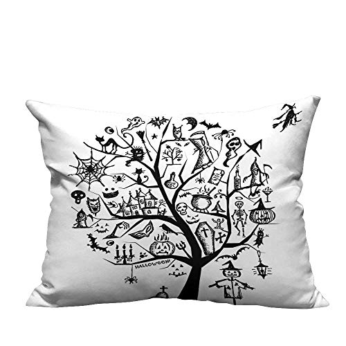 (YouXianHome Pillowcase with Zipper Sketch Style Halloween Tree with Spooky Objects and Wicked Witch on Ultra Soft & Hypoallergenic (Double-Sided Printing) 19.5x26)