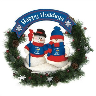 (NCAA Snowman Christmas Wreath NCAA Team: Kansas)