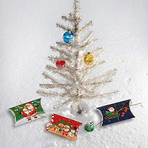 Hochzeit DERAYEE Kissen Geschenkbox 60 st/ück Papier Kissenbox 11.6x7cm Schmuck Schachtel Gastgeschenke s/ü/ßigkeit Karton mit Gold Schnur 50Meter f/ür Weihnacht Party und Neu Jahr