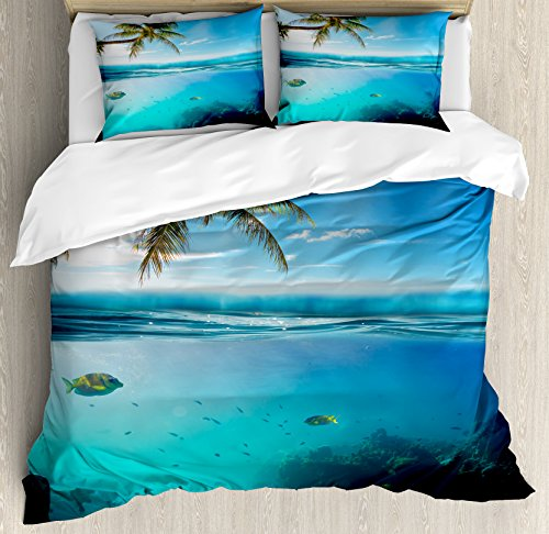 Ocean Duvet Cover Set by Ambesonne, Tropical Underwater Shot with Surface Coconut Tree and Sky Aqua Water Theme Paradise Image, 3 Piece Bedding Set with Pillow Shams, Queen / Full, - Water Images Coconut