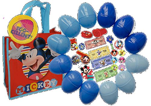 Disney's Mickey Mouse Clubhouse Kids Toy-Filled Easter Eggs & Matching Mickey Egg Hunt Loot Bag! Plus Bonus Kids Holographic Holiday Pin!
