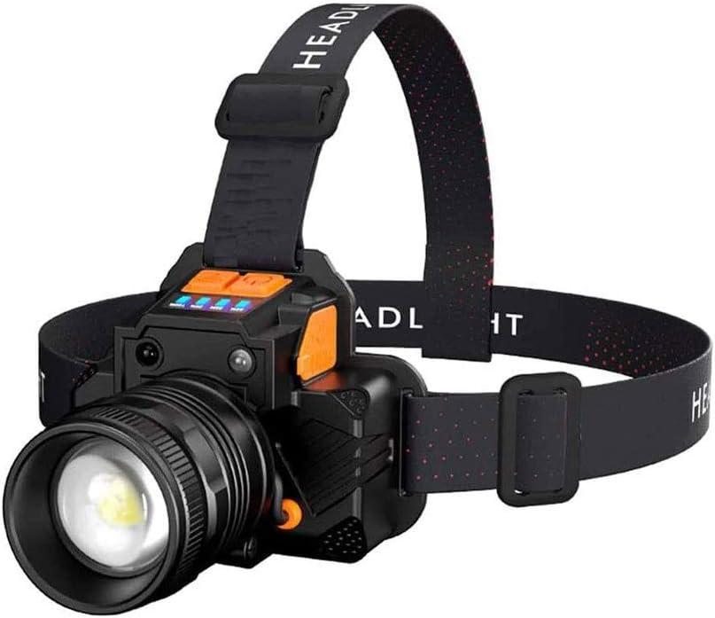 LKNJLL LED recargable linterna del faro LBJD super brillante faros de largo tiempo de trabajo, la lámpara principal cable de carga USB, perfecta for correr, montar a caballo, senderismo, pesca, campin