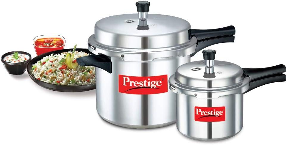 Prestige Popular Aluminium Pressure Cooker Combo of 10 Litre & 3 Litre